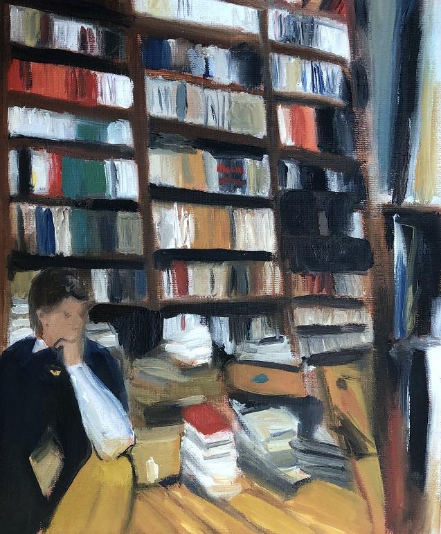 Living in the bookstore, Öl auf Leinwand, 2020