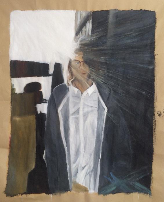 Selbstportrait bookstore, Öl auf Leinwand, 2020